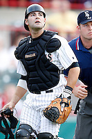 August 1, 2009:  Catcher Alex Avila of the Erie Seawolves during a game at Jerry Uht Park in Erie, PA.  Erie is the Eastern League Double-A affiliate of the Detroit Tigers.  Photo By Mike Janes/Four Seam Images