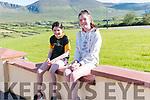 Aine and Méabh Ní Dhubhda at the start of the Siúlóid na Féile Lios Póil on Monday morning.