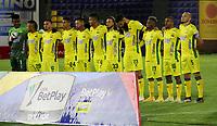PASTO - COLOMBIA, 15-04-2021: Jugadores de Atletico Bucaramanga durante partido pospuesto de la fecha 16 entre Deportivo Pasto y Atletico Bucaramanga por la Liga BetPlay DIMAYOR I 2021 jugado en el estadio Departamental Libertad de la ciudad de Pasto. / Players of Atletico Bucaramanga during a posponed match of the 16th date between Deportivo Pasto and Atletico Bucaramanga for the BetPlay DIMAYOR I 2021 League played at the Departamental Libertad Stadium in Pasto city. / Photo: VizzorImage / Leonardo Castro / Cont.