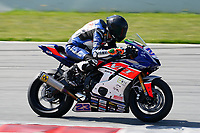 30th March 2021; Barcelona, Spain; Superbikes, WorldSSP600 , day 2 testing at Circuit Barcelona-Catalunya;   D. Pizzoli (ITA) riding Yamaha YZF R6 from VFT Racing