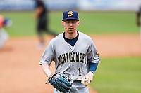 Montgomery Biscuits center fielder Michael Smith (1) jogs off the field during the game against the Tennessee Smokies on May 9, 2021, at Smokies Stadium in Kodak, Tennessee. (Danny Parker/Four Seam Images)