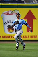 Charlotte Stone Crabs left fielder Bralin Jackson (24) runs down a fly ball during a game against the Clearwater Threshers on April 12, 2016 at Bright House Field in Clearwater, Florida.  Charlotte defeated Clearwater 2-1.  (Mike Janes/Four Seam Images)