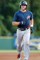Potomac Nationals catcher Jakson Reetz (12) running the bases during a game against the Myrtle Beach Pelicans at Ticketreturn.com Field at Pelicans Ballpark on July 19, 2018 in Myrtle Beach, South Carolina. Potomac defeated Myrtle Beach 6-3. (Robert Gurganus/Four Seam Images)