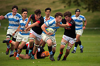 Action from the 1st XV traditional college rugby match between St Pat's Silverstream and St Bede's College at St Patrick's College Silverstream in Upper Hutt, New Zealand on Friday, 23 April 2021. Photo: Dave Lintott / lintottphoto.co.nz