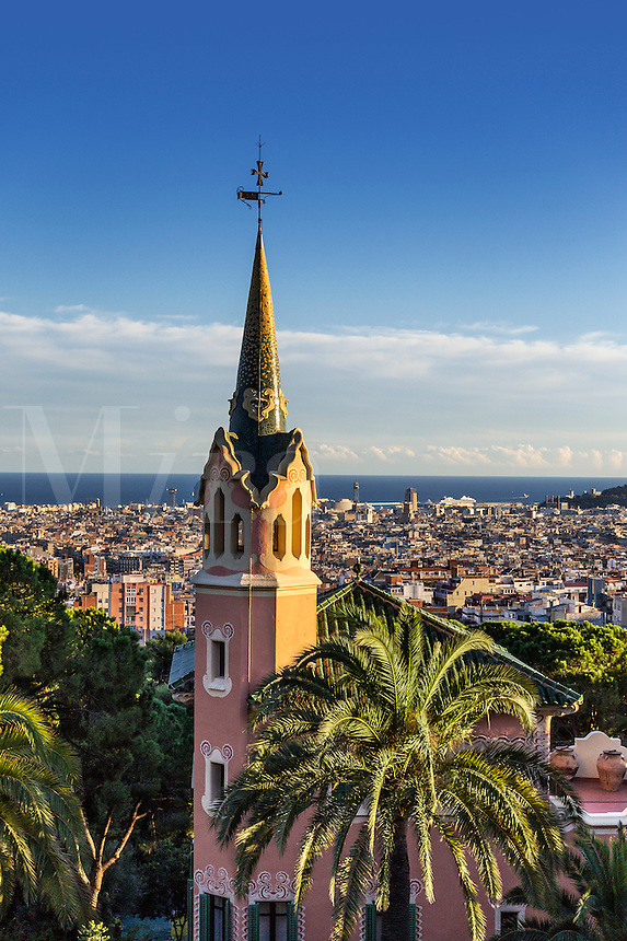Park Guell overlooking the city, Barcelona, Spain