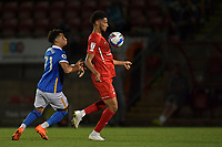 Lee Angol of Leyton Orient and Tsoungui of Brighton & Hove Albion (U23s) during the EFL Trophy behind closed doors match between Leyton Orient and Brighton & Hove Albion Under 21s at the Matchroom Stadium, London, England played without supporters able to attend due to ongoing covid-19 government guidelines on 8 September 2020. Photo by Vince  Mignott.