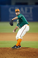 Greensboro Grasshoppers relief pitcher Bryce Howe (51) in action against the Augusta GreenJackets at First National Bank Field on April 10, 2018 in Greensboro, North Carolina.  The GreenJackets defeated the Grasshoppers 5-0.  (Brian Westerholt/Four Seam Images)