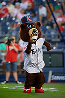 Reading Fightin Phils mascot Bucky the Beaver before an Eastern League game against the Trenton Thunder on August 16, 2019 at FirstEnergy Stadium in Reading, Pennsylvania.  Trenton defeated Reading 7-5.  (Mike Janes/Four Seam Images)