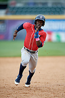 New Hampshire Fisher Cats center fielder Jonathan Davis (3) runs the bases during the first game of a doubleheader against the Harrisburg Senators on May 13, 2018 at FNB Field in Harrisburg, Pennsylvania.  New Hampshire defeated Harrisburg 6-1.  (Mike Janes/Four Seam Images)