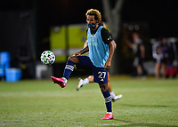 LAKE BUENA VISTA, FL - JULY 26: Gianluca Busio of Sporting KC warms up during a game between Vancouver Whitecaps and Sporting Kansas City at ESPN Wide World of Sports on July 26, 2020 in Lake Buena Vista, Florida.
