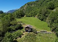 Beekeeping-Mountain apiary in Switzerland: Aerial view of Jean-Louis Gabbud's chalet apiary in Le Fregnoley in the Val de Bagnes in Switzerland<br /> Vue aérienne du rucher châlet de Jean-Louis Gabbud à Le Fregnoley dans le val de Bagnes en Suisse.