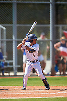 FIU Panthers pinch hitter Kobe Lopez (4) bats during a game against the South Dakota State Jackrabbits on February 23, 2019 at North Charlotte Regional Park in Port Charlotte, Florida.  South Dakota defeated FIU 4-3.  (Mike Janes/Four Seam Images)