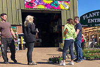 High Wycombe, England 21/04/2020 -<br /> People abide by the social distance advice white shopping for plants in High Wycombe during the COVID-19 pandemic lockdown as the UK Government advice to maintain social distancing and minimise time outside in High Wycombe on 21 April 2020. Photo by PRiME Media Images / Andy Rowland.