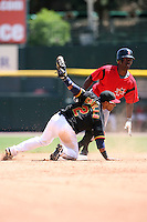 May 13, 2009:  Second Baseman Alexi Casilla of the Rochester Red Wings, International League Class-AAA affiliate of the Minnesota Twins, tags out Andrew McCutchen on a stolen base attempt during a game at Frontier Field in Rochester, FL.  Photo by:  Mike Janes/Four Seam Images
