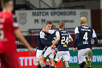 27th March 2021; Dens Park, Dundee, Scotland; Scottish Championship Football, Dundee FC versus Dunfermline; Lee Ashcroft of Dundee is congratulated after scoring for 3-2 by Jason Cummings