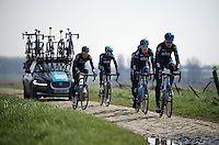 Geraint Thomas (GBR/SKY) & teammates, including Sir Bradley Wiggins (GBR/Sky) riding over the Roubaix cobbles<br /> <br /> 2015 Paris-Roubaix recon with Team SKY