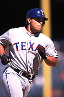 Ivan Rodriguez of the Texas Rangers during a 2000 season MLB game at Angel Stadium in Anaheim, California. (Larry Goren/Four Seam Images)