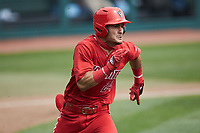 Luca Tresh (24) of the North Carolina State Wolfpack hustles down the first base line against the North Carolina Tar Heels at Boshamer Stadium on March 27, 2021 in Chapel Hill, North Carolina. (Brian Westerholt/Four Seam Images)