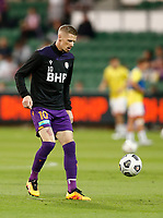 18th April 2021; HBF Park, Perth, Western Australia, Australia; A League Football, Perth Glory versus Wellington Phoenix; Andy Keogh of Perth Glory warms up before the match