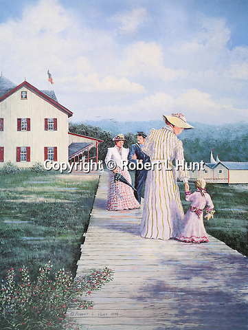 """People strolling the boardwalk beside Lake Conemaugh wearing fancy Victorian period dress at the South Fork Fishing and Hunting Club just before the Johnstown Flood of 1889. Fine art lithographs available, 18"""" x 13.5"""", complete with Certificate of Authenticity."""