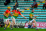 Mikey Boyle, Kerry in action against Paul Doyle, Carlow during the Joe McDonagh hurling cup fourth round match between Kerry and Carlow at Austin Stack Park on Saturday.