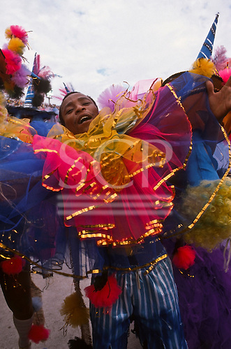 Rio de Janeiro, Brazil. Mal samba dancer during the carnival parade at the Sambadrome.