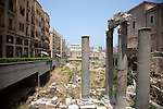 July 2010, LEBANON:  Ancient Roman ruins lying between the new office developments being built in the capital's downtown area. Picture by Graham Crouch