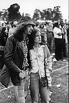 Rock Against Racism March and Concert. March from Hyde Park to Brockwell Park near Brixton London 1978. Couple in Brockwell Park.