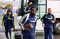 Wednesday 26 February 2014<br /> Pictured: Nathan Dyer arriving at Cardiff AIrport.<br /> Re: Swansea City FC travel to Italy for their UEFA Europa League game against Napoli.
