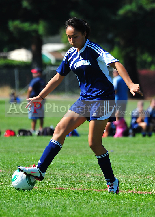 Jessica Jara of Lamorinda United 94 plays during the RAGE College Showcase 2010 at the Sports Park in Pleasanton California July 23, 2010. (Photo by Alan Greth)