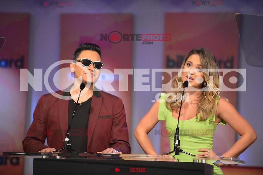 MIAMI, FL - FEBRUARY 05: Elvis Crespo and Kimberly Dos Ramos at the Telemundo and Premios Billboard 2013 Press Conference at Gibson Miami Showroom on February 5, 2013 in Miami, Florida. © MPI10/MediaPunch Inc /NortePhoto