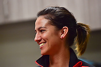 Houston, TX - Saturday Oct. 08, 2016: Abby Erceg during a press conference prior to the National Women's Soccer League (NWSL) Championship match between the Washington Spirit and the Western New York Flash at Houston Sports Park.