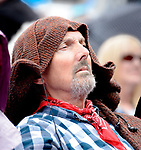 Dermot Hayes keeping the raindrops off his head at the official opening of the All-Ireland Fleadh 2017 in Ennis. Photograph by John Kelly.