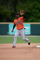 Baltimore Orioles Carlos Baez (52) catches a throw down during a Minor League Spring Training game against the Tampa Bay Rays on March 16, 2019 at the Buck O'Neil Baseball Complex in Sarasota, Florida.  (Mike Janes/Four Seam Images)