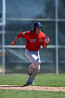 Boston Red Sox Danny Bethea (32) runs to first base during a minor league Spring Training game against the Baltimore Orioles on March 16, 2017 at the Buck O'Neil Baseball Complex in Sarasota, Florida. (Mike Janes/Four Seam Images)