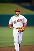Memphis Redbirds center fielder Tommy Pham (27) jogs back to the dugout during a game against the Round Rock Express on April 28, 2017 at AutoZone Park in Memphis, Tennessee.  Memphis defeated Round Rock 9-1.  (Mike Janes/Four Seam Images)