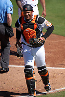 Baltimore Orioles catcher Pedro Severino (28) during a Major League Spring Training game against the Pittsburgh Pirates on February 28, 2021 at Ed Smith Stadium in Sarasota, Florida.  (Mike Janes/Four Seam Images)