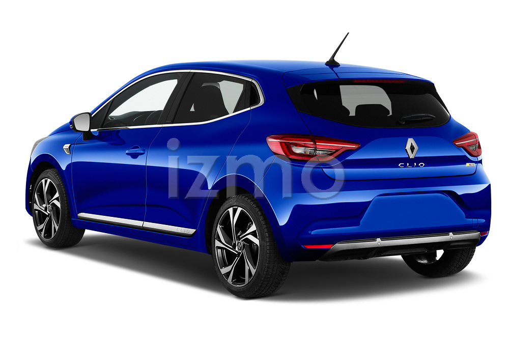 Car pictures of rear three quarter view of 2020 Renault Clio-e-Tech RS-Line 5 Door Hatchback Angular Rear