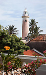 The lighthouse in the city of Galle in southern Sri Lanka which on 26 December 2004  was devastated by the massive Boxing Day Tsunami caused by the 2004 Indian Ocean earthquake that occurred a thousand miles away, off the coast of Indonesia. Thousands were killed in the city alone..Galle is the best example of a fortified city built by Europeans in south and southeast Asia, showing the interaction between European architectural styles and south Asian traditions. The Galle fort is a world heritage site and the largest remaining fortress in Asia built by European occupiers. .Galle is the main town in the most southerly part of the island, with a population of around 100,000, and is connected by rail to Colombo and Matara. It is home to a cricket ground, the Galle International Stadium, rebuilt after the 2004 tsunami. Test matches resumed there on December 18, 2007.