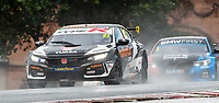 23rd August 2020; Oulton Park Circuit, Little Budworth, Cheshire, England; Kwik Fit British Touring Car Championship, Oulton Park, Race Day;  Dan Cammish Halfords Yuasa Racing driving a Honda Civic Type R  leads  Colin Turkington Team BMW driving a BMW 330i in race 2