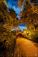 The stone bridge and under path at night in Carl Schurz Park at Upper East Side.