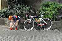 "Glyndwr Griffiths of the 73Degrees Cycling club gets prepared for the race during the Abergavenny Festival of Cycling ""Grand Prix of Wales"" race on Sunday 17th 2016<br /> <br /> <br /> Jeff Thomas Photography -  www.jaypics.photoshelter.com - <br /> e-mail swansea1001@hotmail.co.uk -<br /> Mob: 07837 386244 -"