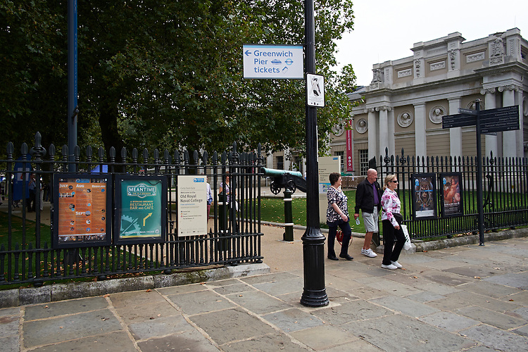 Greenwich, London - Advertising hoarding adshells around the Cutty Sark British clipper ship