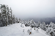 December 2014 - Winter conditions on the summit of Mount Tecumseh in Waterville Valley, New Hampshire. Over the last few years, illegal tree cutting (vandalism) has improved the view from the summit.