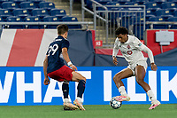 FOXBOROUGH, MA - JULY 23: Kosi Thompson #52 of Toronto FC II collects a pass during a game between Toronto FC II and New England Revolution II at Gillette Stadium on July 23, 2021 in Foxborough, Massachusetts.