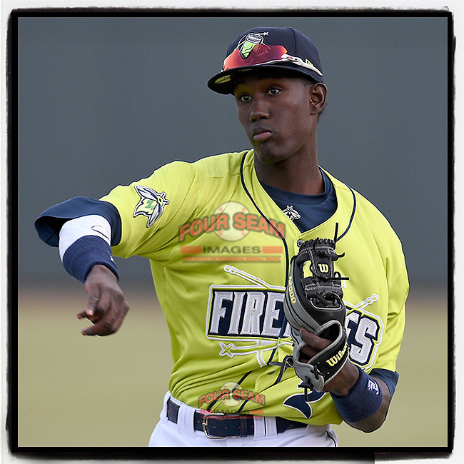 No. 2 MLB.com New York #Mets prospect Ronny Mauricio (2) of the Columbia Fireflies warms up before his Class A debut on Thursday, April 4, 2019, at Segra Park in Columbia, South Carolina. Charleston won, 2-1. (Tom Priddy/Four Seam Images)