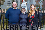 Brandon O'Connor former student of St Brendans NS Blennerville receiving his Confirmation in St John's Church on Saturday with his parents Anthony O'Connor and Samantha Fitzgerald.