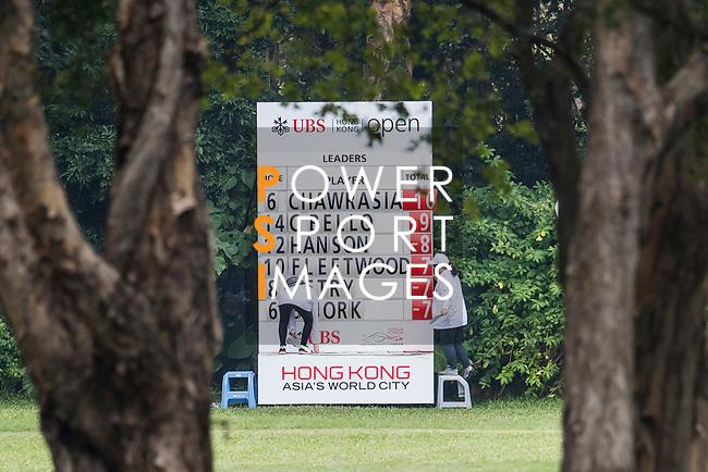 The Leader Board shows that Rafa Cabrera Bello of Spain moves up to the second place during the day three of UBS Hong Kong Open 2017 at the Hong Kong Golf Club on 25 November 2017, in Hong Kong, Hong Kong. Photo by Marcio Rodrigo Machado / Power Sport Images