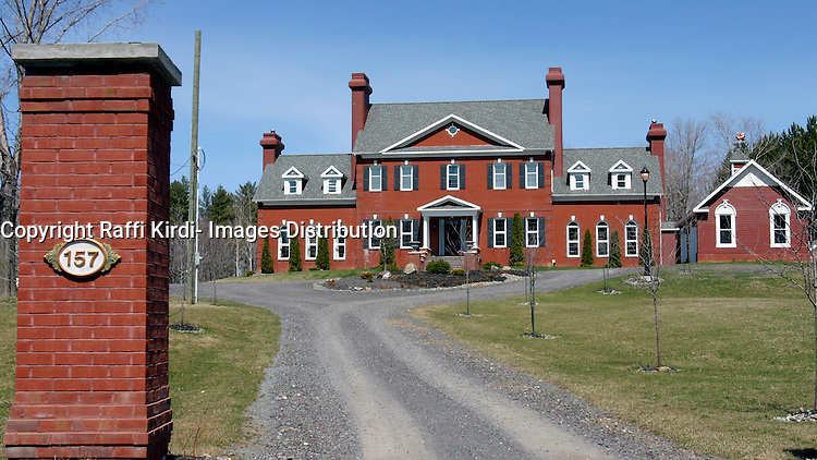 April 2005, Frelighsburg (Qc) CANADA<br /> French rocker Johnny Halliday fell in love with this $1.7million dollar (cdn), located some 150km south of Montreal, imagined raising horses here. The deal was cancelled when his lady friend, Laeticia decided she hates Quebec. Johnny had signed a purchase as a X-mas gift for his lady friend and johnny wanted to have one foot in Quebec, when he opted out of the purchase, the seller attempted to pursue him, and asked when Johnny did consult with Laeticia prior to purchasing<br /> Photo : (c) By Raffi Kirdi / IMAGES DISTRIBUTION<br /> USA OUT, FRANCE OUT, GERMANY OUT