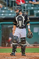 Matt Thaiss (6) of the Salt Lake Bees on defense against the Tacoma Rainiers at Smith's Ballpark on May 13, 2021 in Salt Lake City, Utah. The Rainiers defeated the Bees 15-5. (Stephen Smith/Four Seam Images)